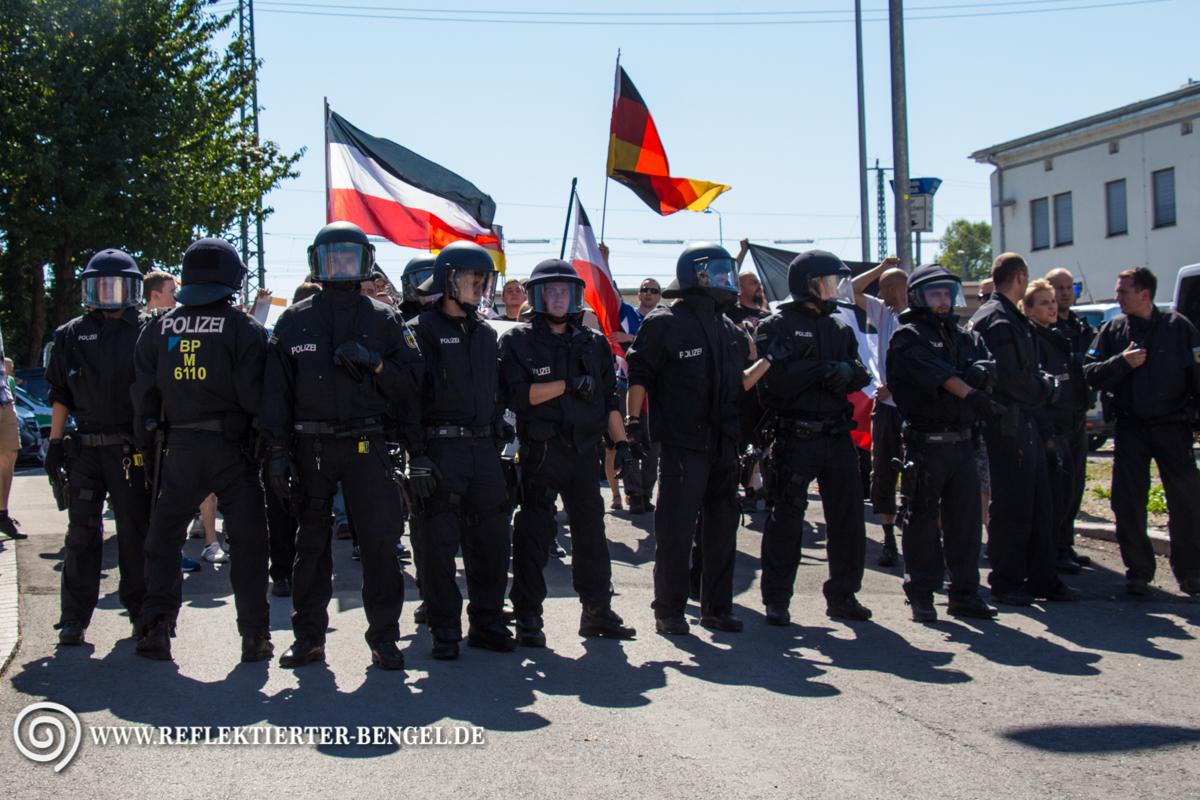 Die Nazis stellen sich zur Demo auf