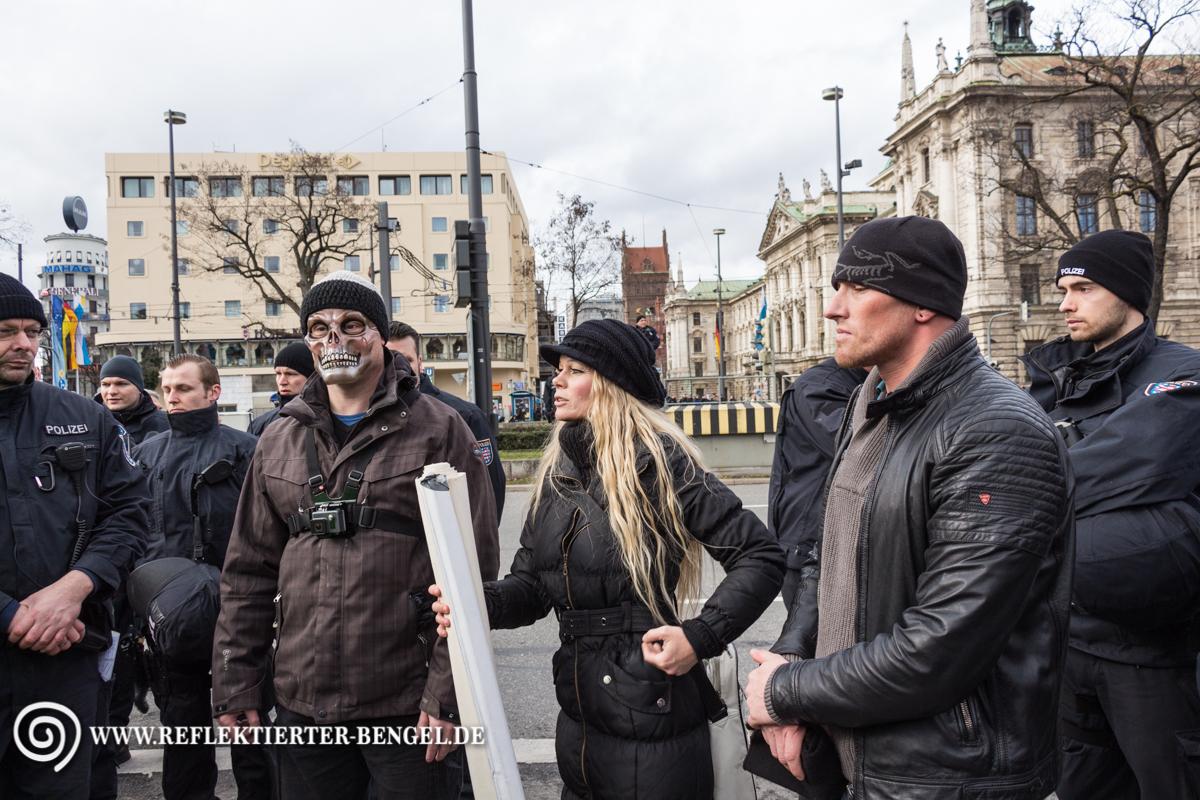 13.02.16 München - Demo gegen die Sicherheitskonferenz, Kathrin Oertel, Frank Geppert
