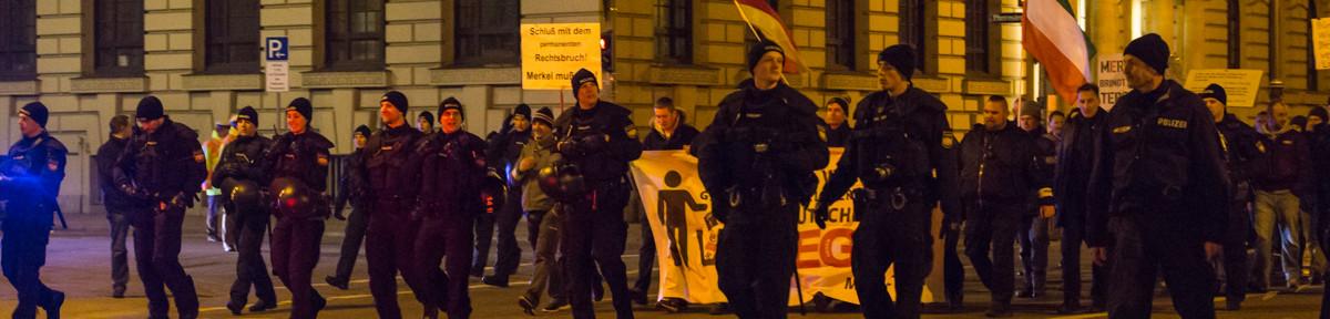 Blockaden verkürzen Pegida Demo