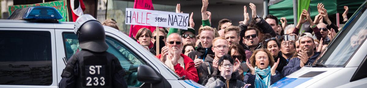 Neonaziaufmarsch in Halle blockiert
