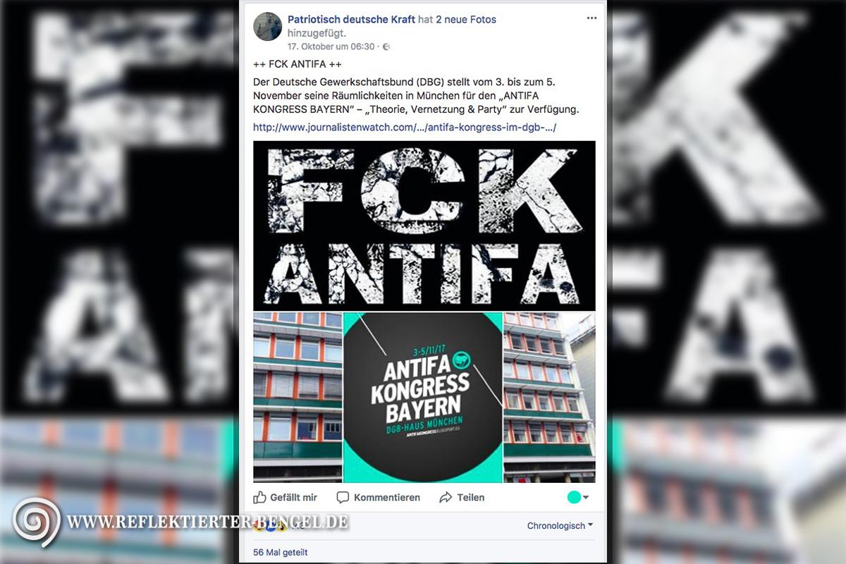 Patriotisch deutsche Kraft Antifa Kongress Bayern DGB Haus München