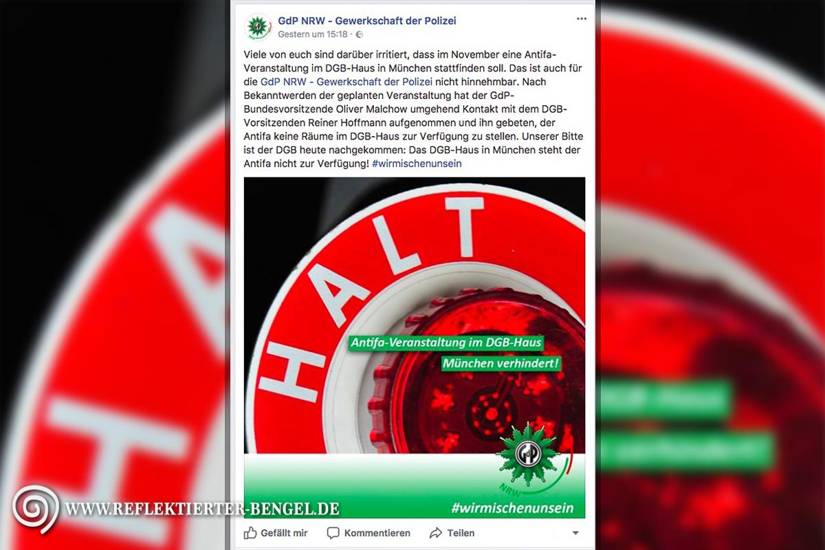 GdP Gewerkschaft der Polizei Antifa Kongress Bayern DGB Haus München